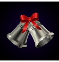 Silver bells with red bow vector