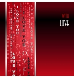 I love you words red background vector