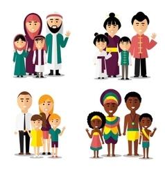 African asian arab and european families vector