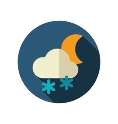 Cloud snow moon flat icon meteorology weather vector