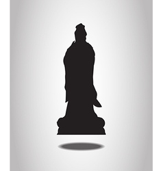 Guanyin statue silhouettes on the white background vector