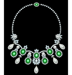 Diamond necklace with emeralds vector