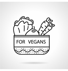 Black line icon for vegetable bowl vector image vector image