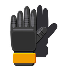 Black soccer gloves icon cartoon style vector