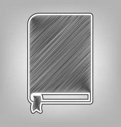 Book sign pencil sketch imitation dark vector