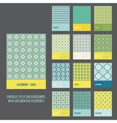 Calendar 2016 vintage decorative elements vector
