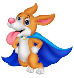 Cartoon super hero dog flying vector