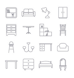 Collection of home furniture icons in thin line vector