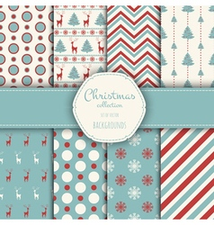 Collection of seamless patterns with red and white vector image vector image