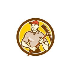Construction worker holding pickaxe circle cartoon vector
