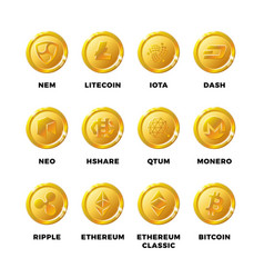 cryptocurrency gold coins with bitcoin litecoin vector image