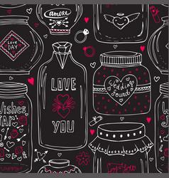 cute jars of love pattern valentines seamless vector image vector image