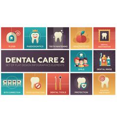dental care - set of flat design infographics vector image