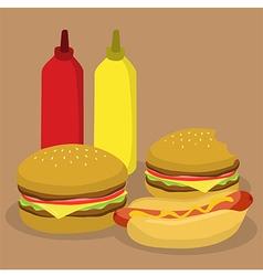 Fast food burger and hotdog vector