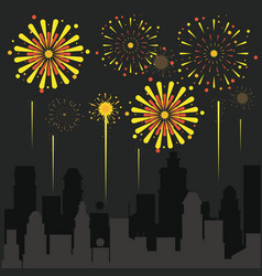 fireworks on the city vector image