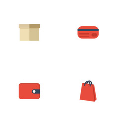 flat icons case pouch purse and other vector image vector image