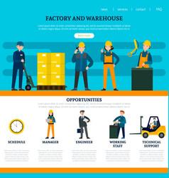 flat industrial website template vector image vector image