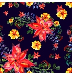 Floral seamless pattern Dark background texture vector image