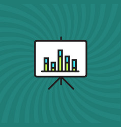 graph increase board icon simple line cartoon vector image