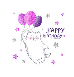 Greeting card with white cat with glittering purp vector