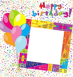 Happy Birthday colorful card with confetti and vector image vector image