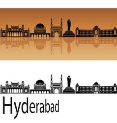 Hyderabad skyline in orange vector