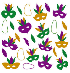 mardi gras pattern with mask feathers and vector image