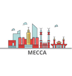 Mecca city skyline buildings streets silhouette vector
