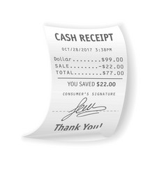 Paper cash receipt with fully written out real vector