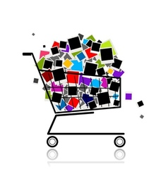 Pile of photos in shopping cart for your design vector image vector image