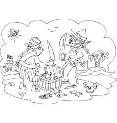 Pirates with treasure vector image