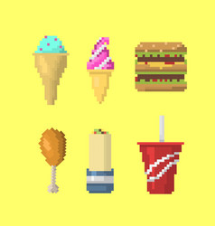 Pixel art food icons vector