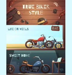 roadster motorcycle banners set vector image