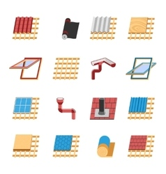 Roof construction elements flat icons set vector