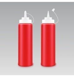 Set of plastic white red tomato ketchup bottle vector
