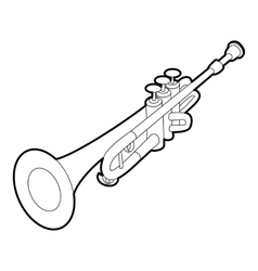 Trumpet icon outline isometric style vector