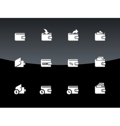 Wallet icons on black background vector image vector image