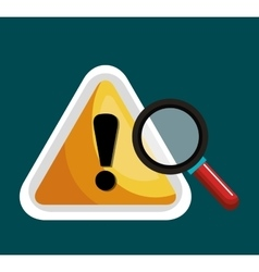 Warning symbol and search graphic isolaed vector