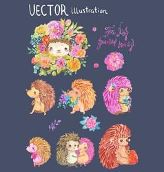 Watercolor hedgehog vector