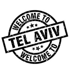 Welcome to tel aviv black stamp vector