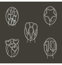 White line icons for balloons decoration vector image