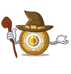 Witch komodo coin mascot cartoon vector