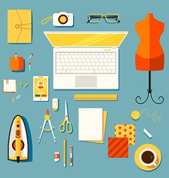 Workplace of designer clothes seamstress tailo vector