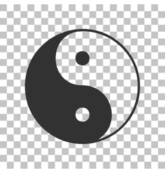 Ying yang symbol of harmony and balance dark gray vector