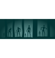 Zombie silhouettes in dark forest vector image vector image