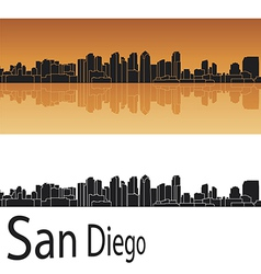 San diego skyline in orange background vector