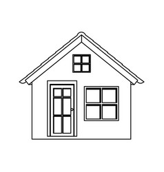 silhouette facade small village with two windows vector image