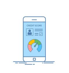 smartphones with credit score app on the screen in vector image