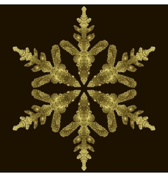 Gold Snowflake On A Dark Background vector image