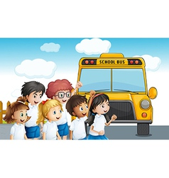 Young students waiting for the schoolbus vector